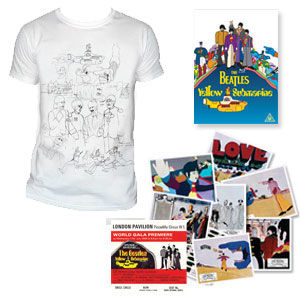The Beatles: DVD & Exclusive Mens White T-Shirt & Replica Cinema Lobby Cards & Premiere Ticket