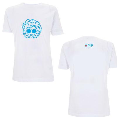 Annie Mac: AMP Annie Logo Head Blue & White Tee --