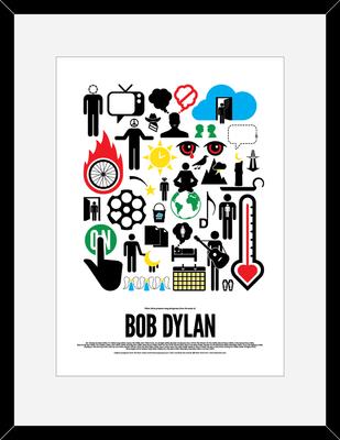 Bob Dylan: Pictogram Rock Print by Viktor Hertz