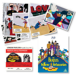The Beatles: Replica Yellow Submarine Film Premiere Ticket And 8 Lobby Card Set.