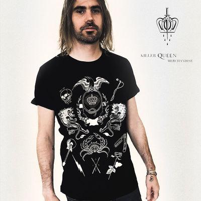 Queen: Manuela Gray Exclusive Queen Tattoo Style Crest Black T-Shirt