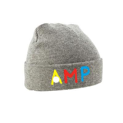 Annie Mac: AMP Embroidered Grey Beanie