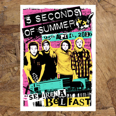 5 Seconds of Summer: Belfast April 25th Event Litho