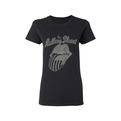 The Rolling Stones: Black & White USA Script Ladies T-shirt