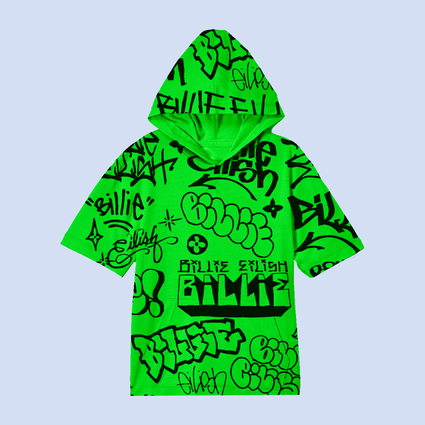 Billie Eilish: Billie Eilish x Freak City Green Graffiti Hoodie
