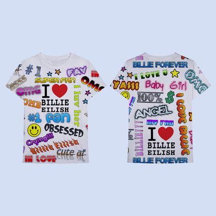 Billie Eilish: Billie Eilish x Freak City Super Fan All Over Print SS Tee