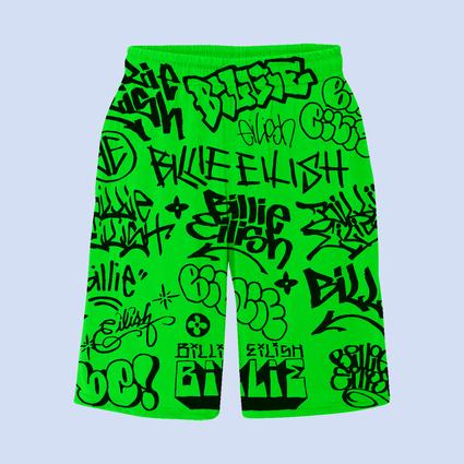 Billie Eilish: Billie Eilish x Freak City Green Graffiti Shorts