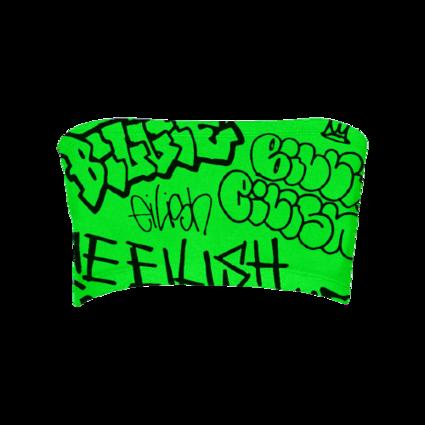 Billie Eilish: Billie Eilish x Freak City Green Grafitti Tube Top