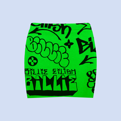 Billie Eilish: Billie Eilish x Freak City Green Graffiti Skirt