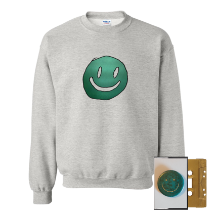 Mac DeMarco: Smiley Face Grey Crewneck + Gold Cassette