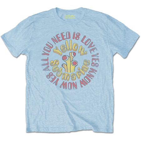 The Beatles: Yellow Submarine AYNIL Circle Vintage Light Blue T-Shirt