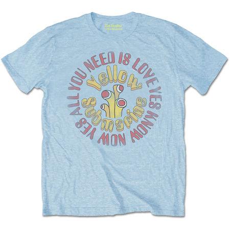 The Beatles: Yellow Submarine AYNIL Circle Vintage Light Blue T-Shirt