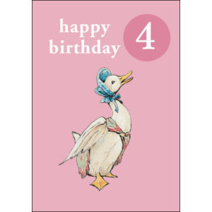 Jemima Puddle-duck: Jemima Puddle-duck Age 4 Birthday Card with Badge