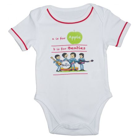 The Beatles: A Is For Apple Baby Body Suit White/Red Trim