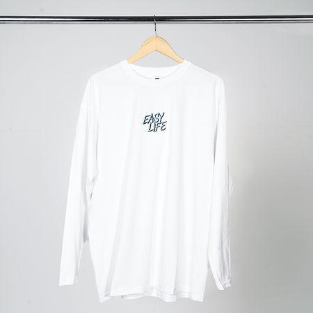 Easy Life: Light Blue Logo White Long Sleeve T-Shirt