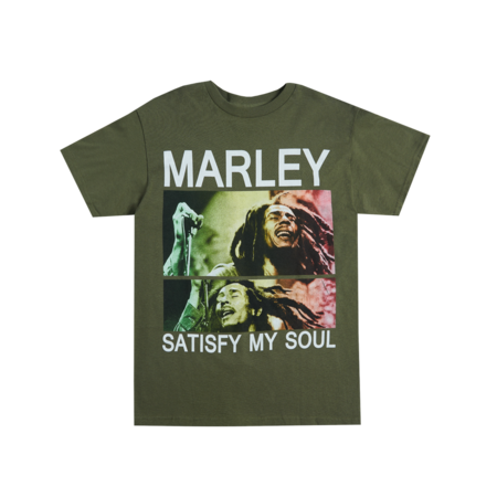 Bob Marley: Satisfy My Soul Olive Green T-Shirt