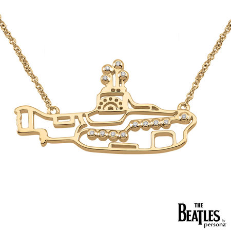 The Beatles: 925 & 18K Gold Overlay Yellow Submarine Necklace