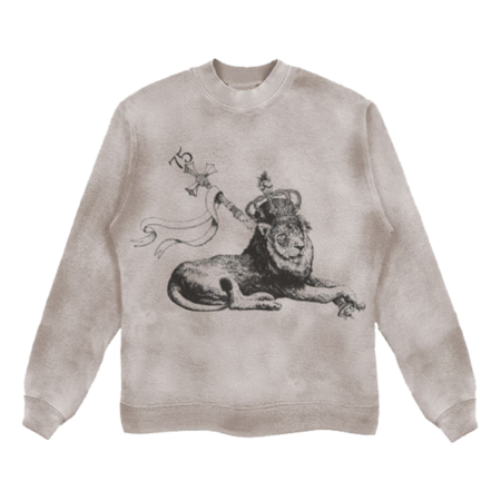 Bob Marley: Washed Printed Crew Lion Sweatshirt