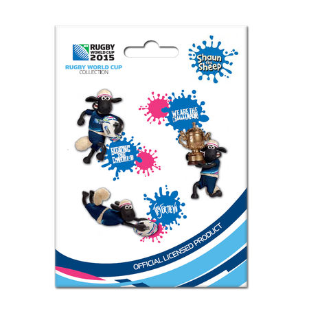 Shaun the Sheep: RWC 2015 - Shaun The Sheep 3D Pin-Set of 3 Badges