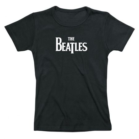 The Beatles: Drop T Logo Womens Fitted T-Shirt Black