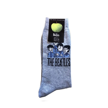 The Beatles: Cartoon Mens Grey Socks