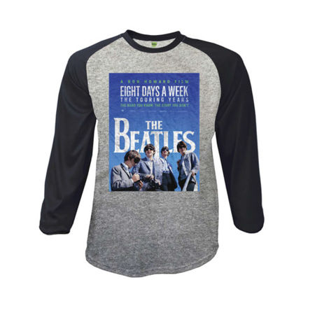 The Beatles: 8 Days A Week Movie Poster Men's Grey Marl & Black Raglan