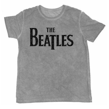 The Beatles: Men's Burnout Tee: Drop T Logo (Grey)