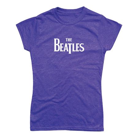 The Beatles: Drop T Logo Womens Fitted T-Shirt Heather Purple