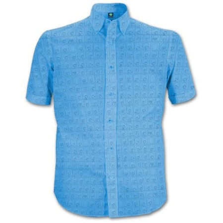 The Beatles: Men's Shirt: Hard Days Night Pattern (Blue)