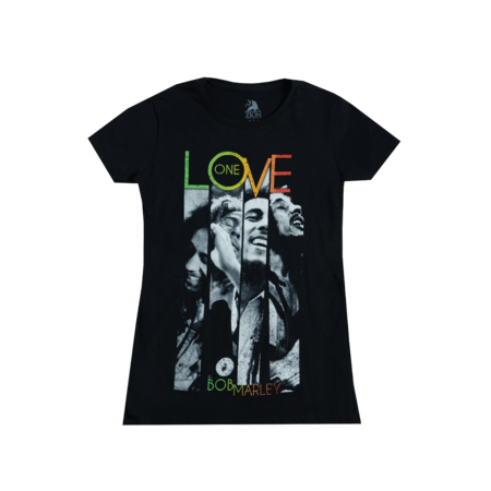 Bob Marley: One Love Stripes Black Ladies T-Shirt
