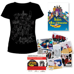 The Beatles: DVD & Exclusive Womens black T-Shirt & Replica Cinema Lobby Cards & Premiere Ticket