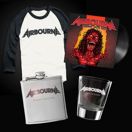 Airbourne: Baseball Shirt, Flask, Shot Glass & Vinyl