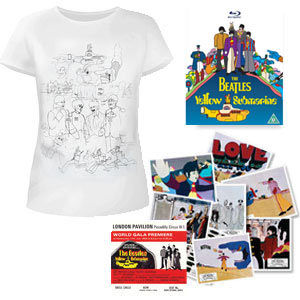 The Beatles: DVD & Exclusive Womens White T-Shirt & Replica Cinema Lobby Cards & Premiere Ticket