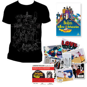 The Beatles: DVD & Exclusive Mens black T-Shirt & Replica Cinema Lobby Cards & Premiere Ticket