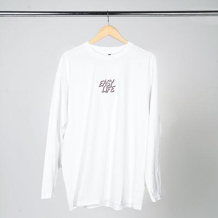 Easy Life: Pink Logo White Long Sleeve T-Shirt