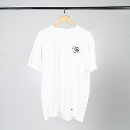 Easy Life: Pink Logo White Short Sleeve T-Shirt
