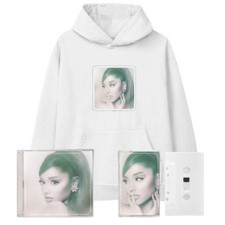Ariana Grande: positions: cover hoodie, exclusive cd + frosted white cassette