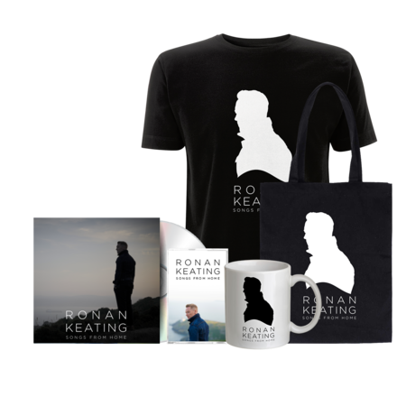 """Ronan Keating: Signed """"From Home"""" Version CD + Cassette + Black Tee + Tote + Mug"""