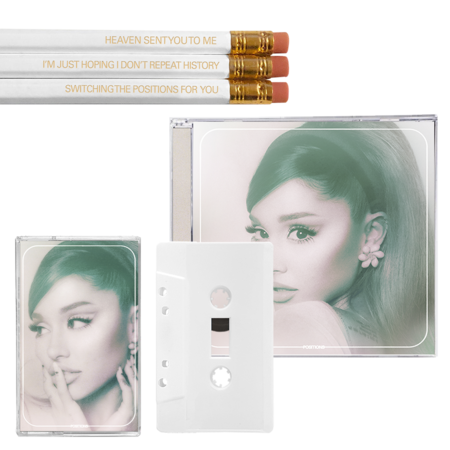 Ariana Grande: positions: pencil pack, exclusive cd + frosted white cassette
