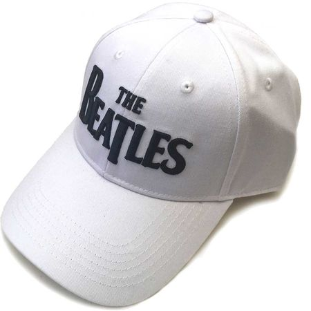 The Beatles: Unisex Black Drop T Logo White Baseball Cap