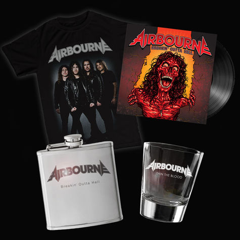 Airbourne: Band Tee, Flask, Shot Glass & Vinyl