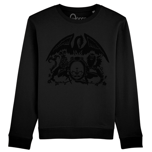 Queen: Flocked Crest Logo Black Sweatshirt