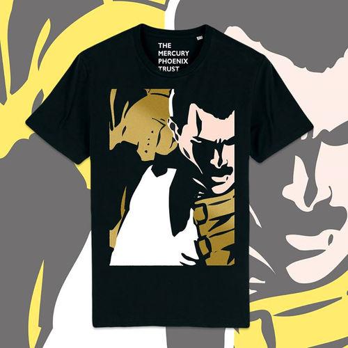 Freddie For A Day: Gold Freddie On Black Unisex Supersoft T-Shirt