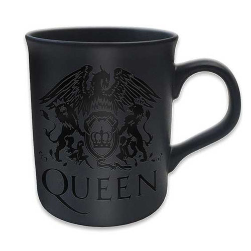 Queen: Boxed Matt Mug: Crest (Black on Black Matt)