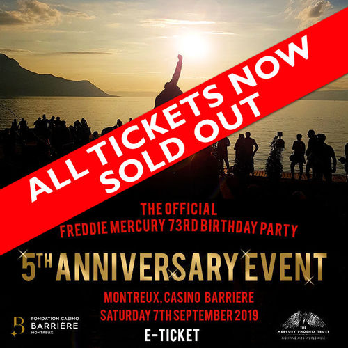 Freddie For A Day: The Official Freddie Mercury 73rd Birthday Party - 5th Anniversary Event @ The Casino, Montreux, Switzerland - 07/09/2019 E-Ticket SOLD OUT