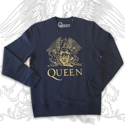 Queen: Gold Crest On French Blue Unisex Sweatshirt