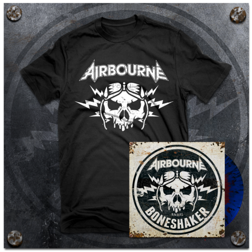 Airbourne: Black T-Shirt & Boneshaker Blood In The Water Vinyl