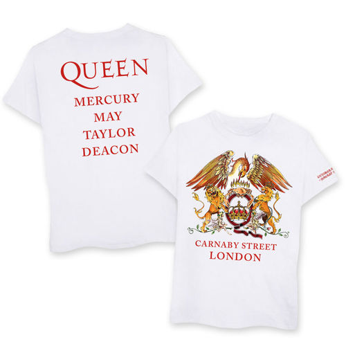 Queen: Carnaby Street Crest & Names White T-Shirt