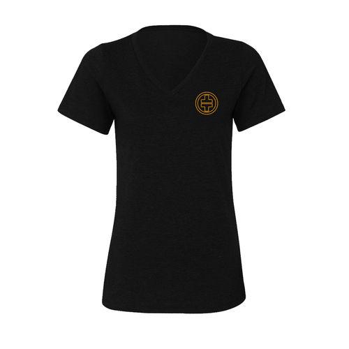 takethat: TT Orange Logo Womens V-Neck T-Shirt