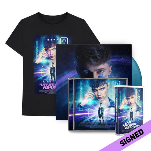 HRVY: Can Anybody Hear Me? Signed Deluxe CD & Blue LP & T-Shirt & Cassette